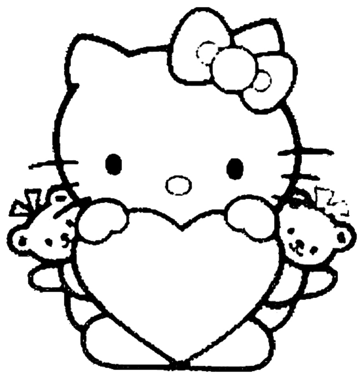 Heart coloring image of Hello Kitty