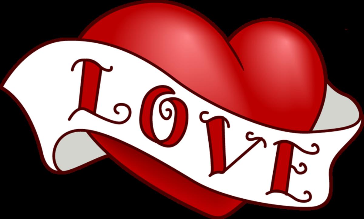 Red Heart with Love written across