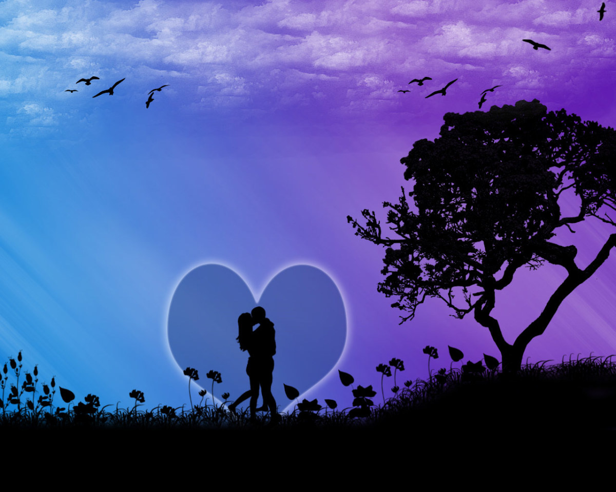 lovers kissing inside a bubble of heart image