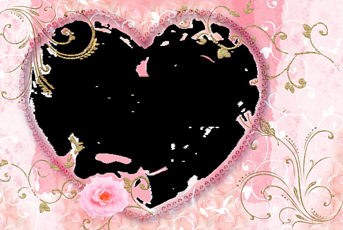 Pink love shaped photo frame