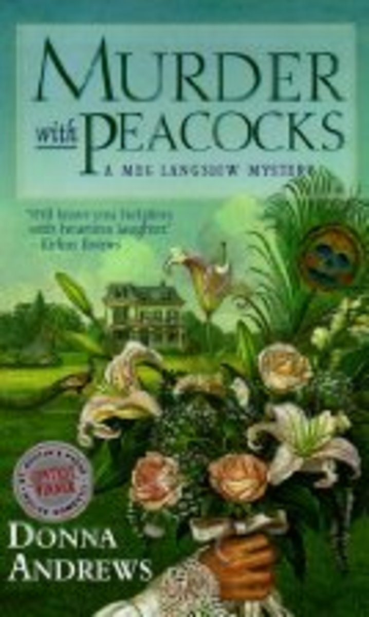 Murder with Peacocks by Donna Andrews Book 1 in the Meg Langslow Series