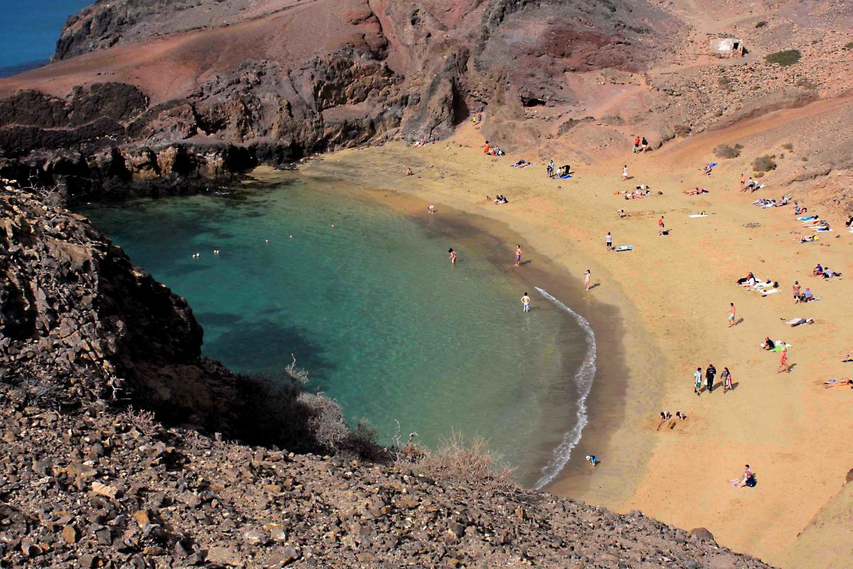 The natural cove of Playa de Papagayo. Even in February when this photo was taken, the beach was beginning to fill up