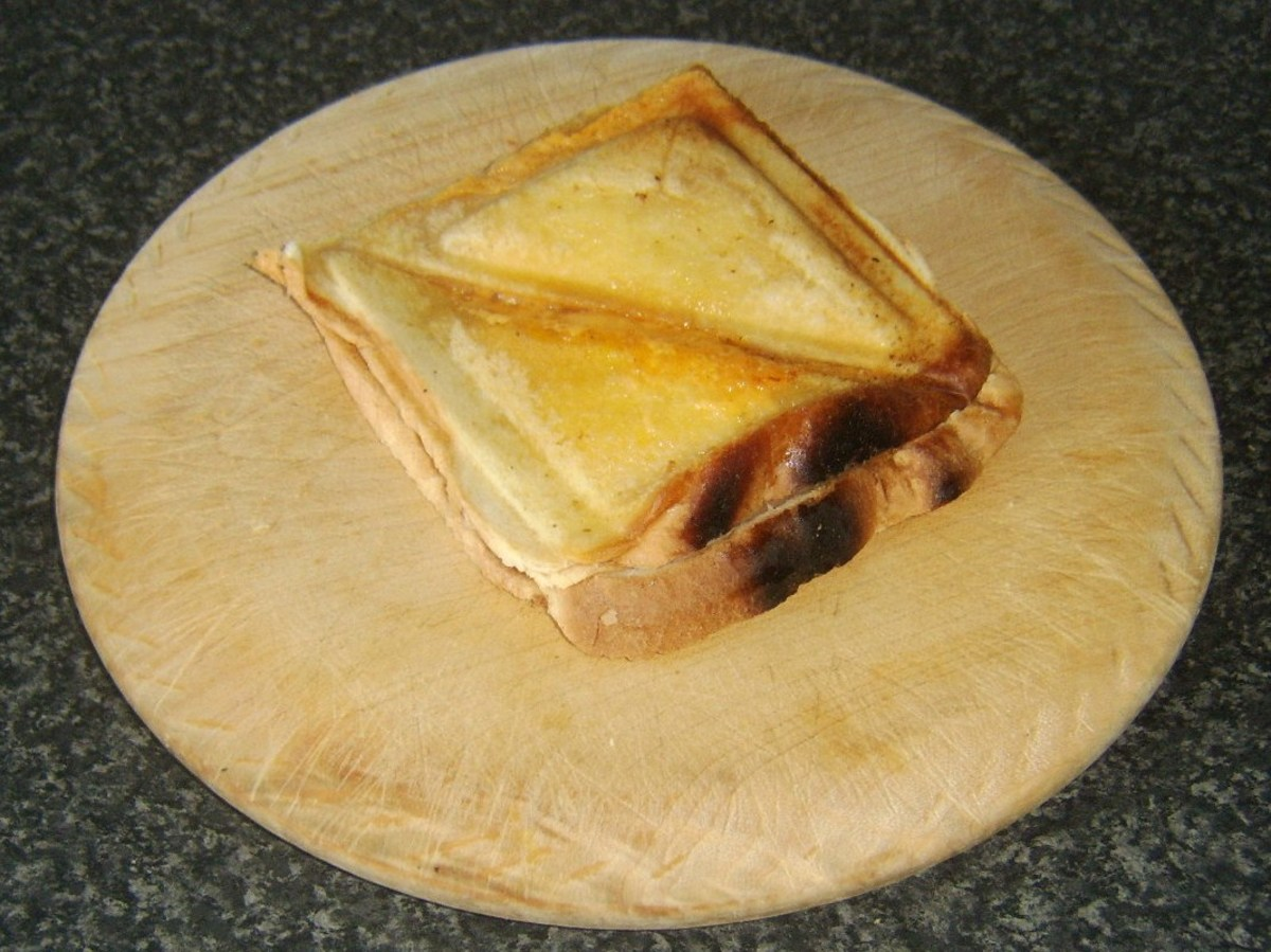 Cheese and Spam toastie is briefly rested