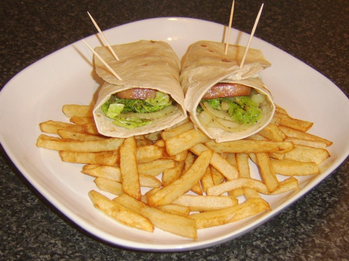 Thick slices of Spam, cabbage and onion wraps with homemade small cut chips/fries