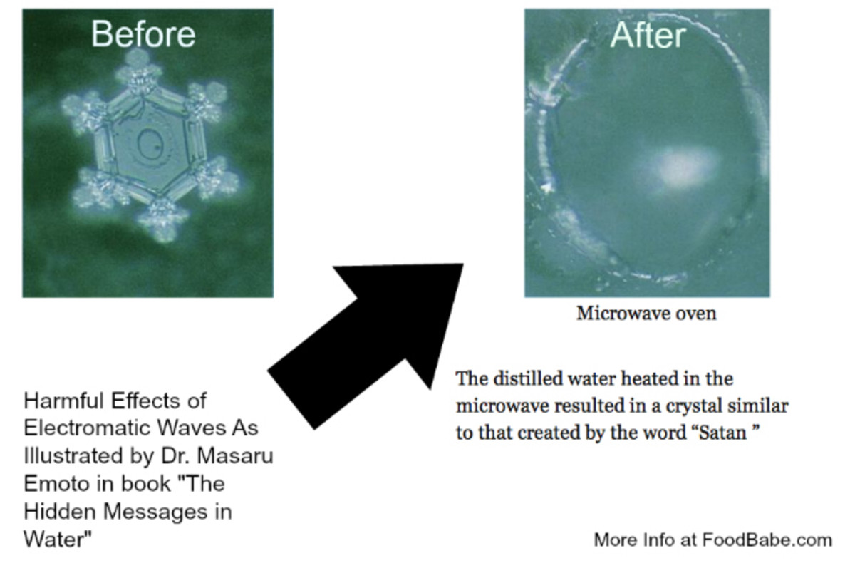 "Water exposed to the word ""Satan"" or ""Hitler"" forms different crystals, like microwaved water? O RLY?"