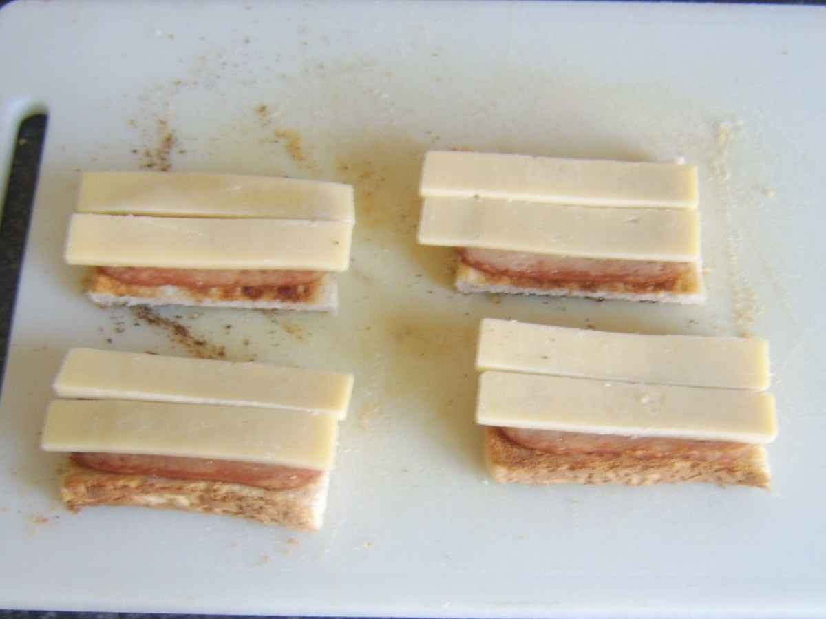 Cheese laid on SPam on toast
