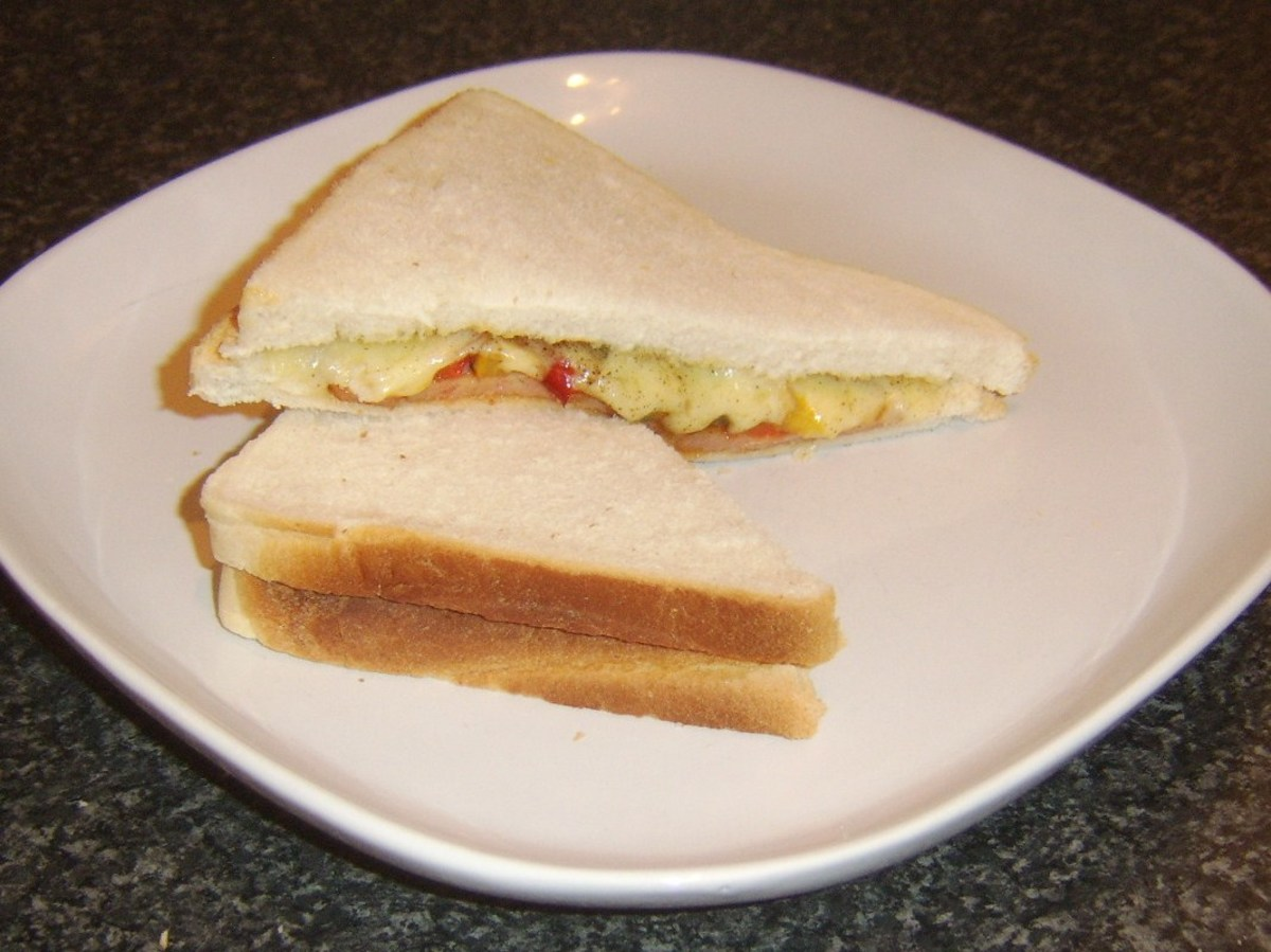 Spam slices with bell peppers and cheese sandwich