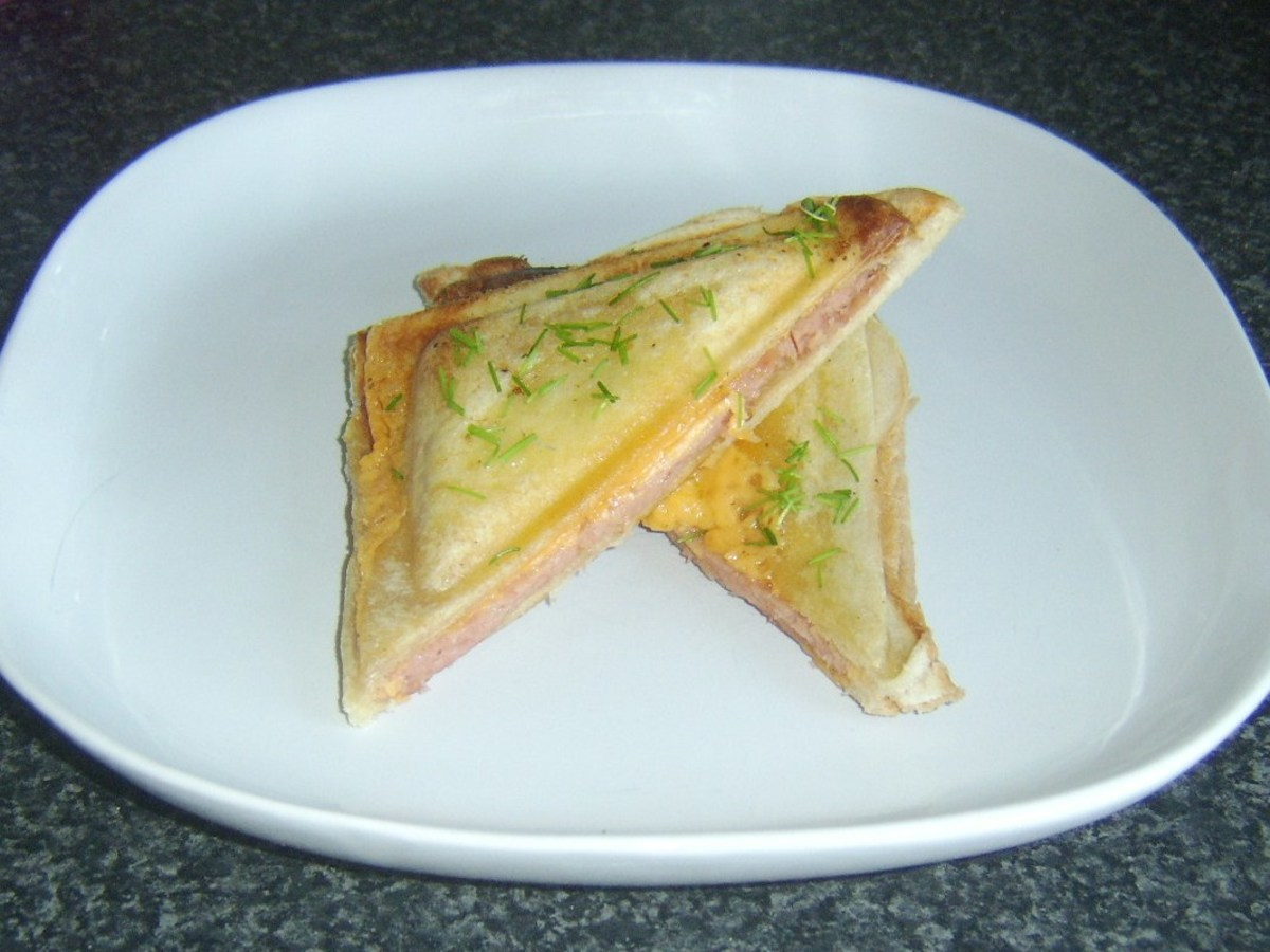 Cheese and Spam toasted sandwich