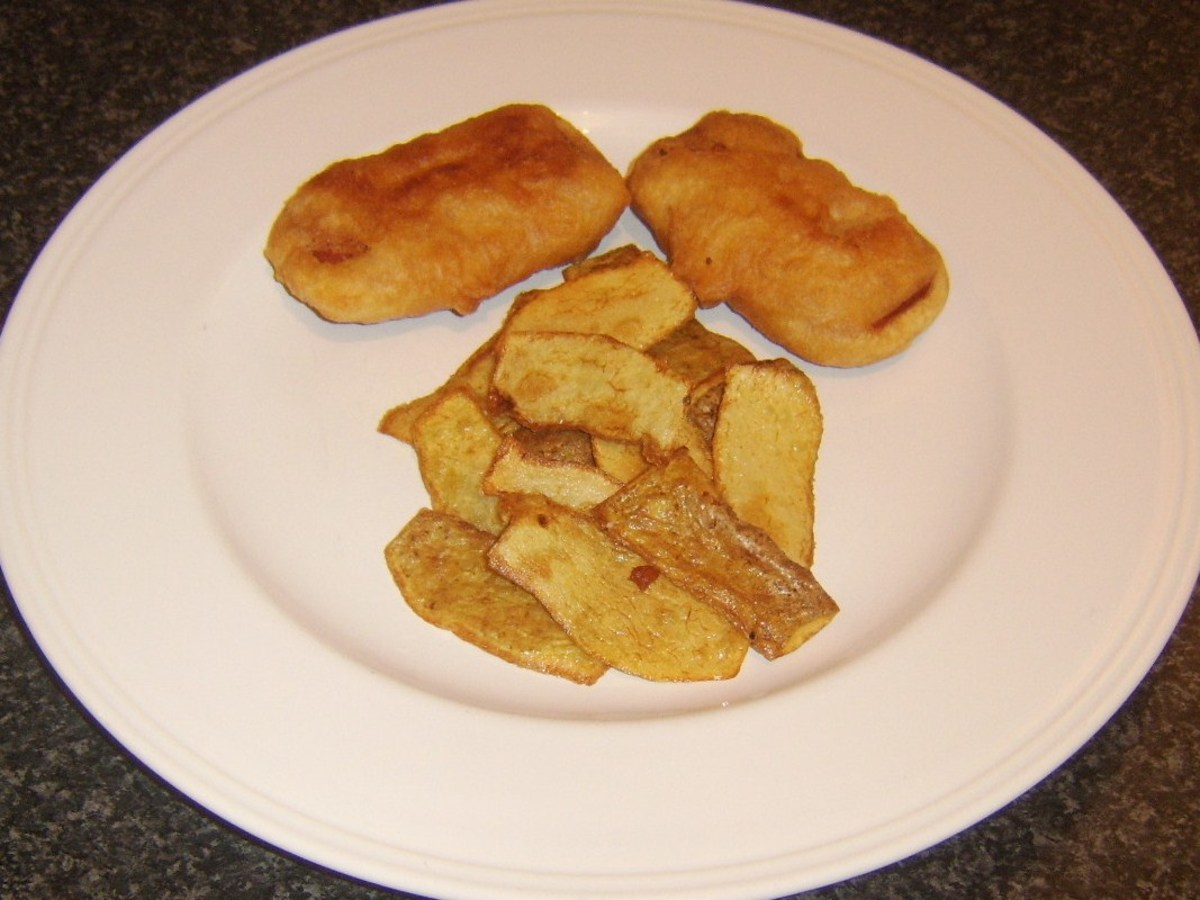 Spam fritters and potato skins