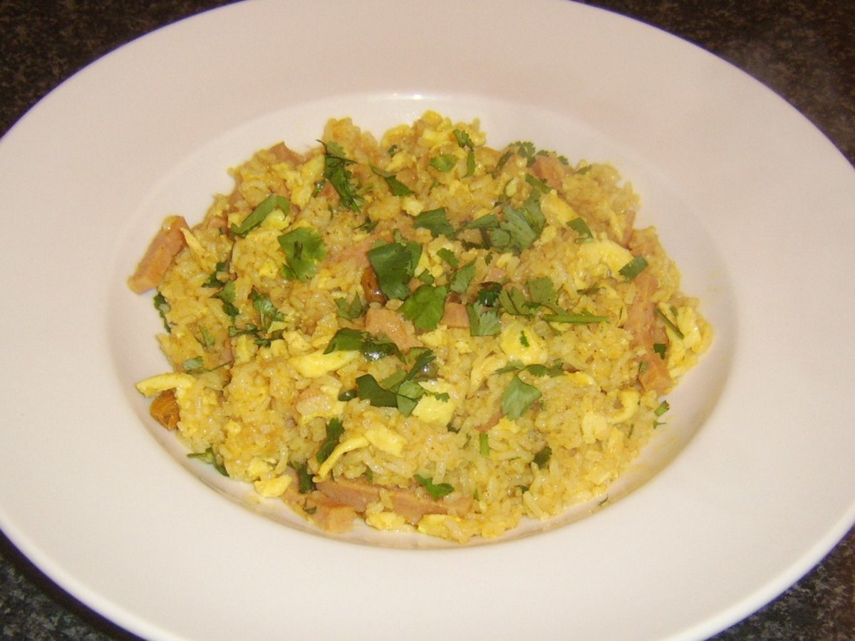 Spam, egg and curry sauce stirred through fried rice