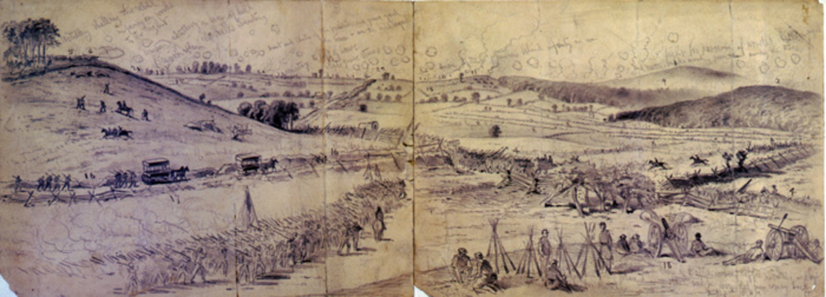 Sketch - a column of troops marches up toward the battlefield