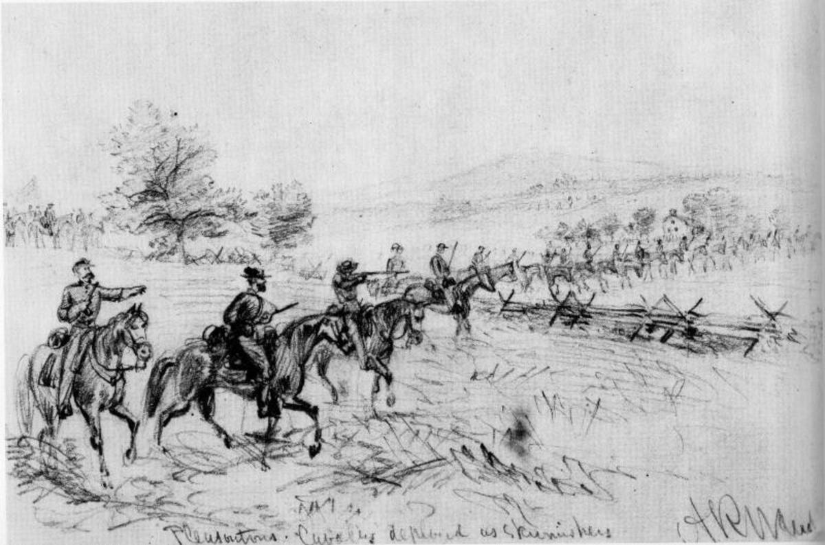 Sketch - a mounted cavalry Skirmish Line
