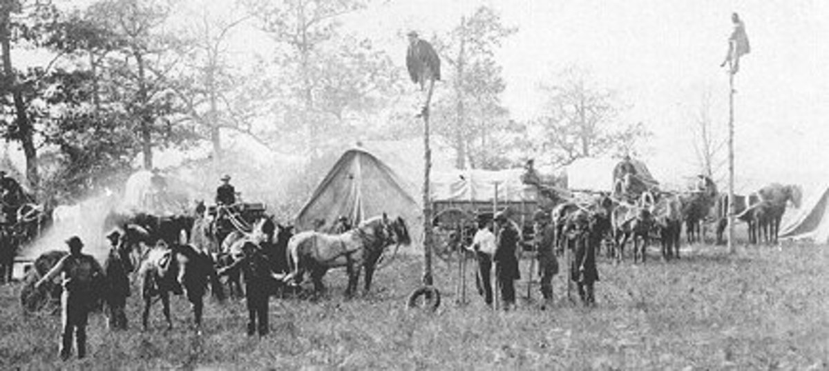 The Army's telegraph service: telegraph poles are erected and telegraph wire is suspended from them