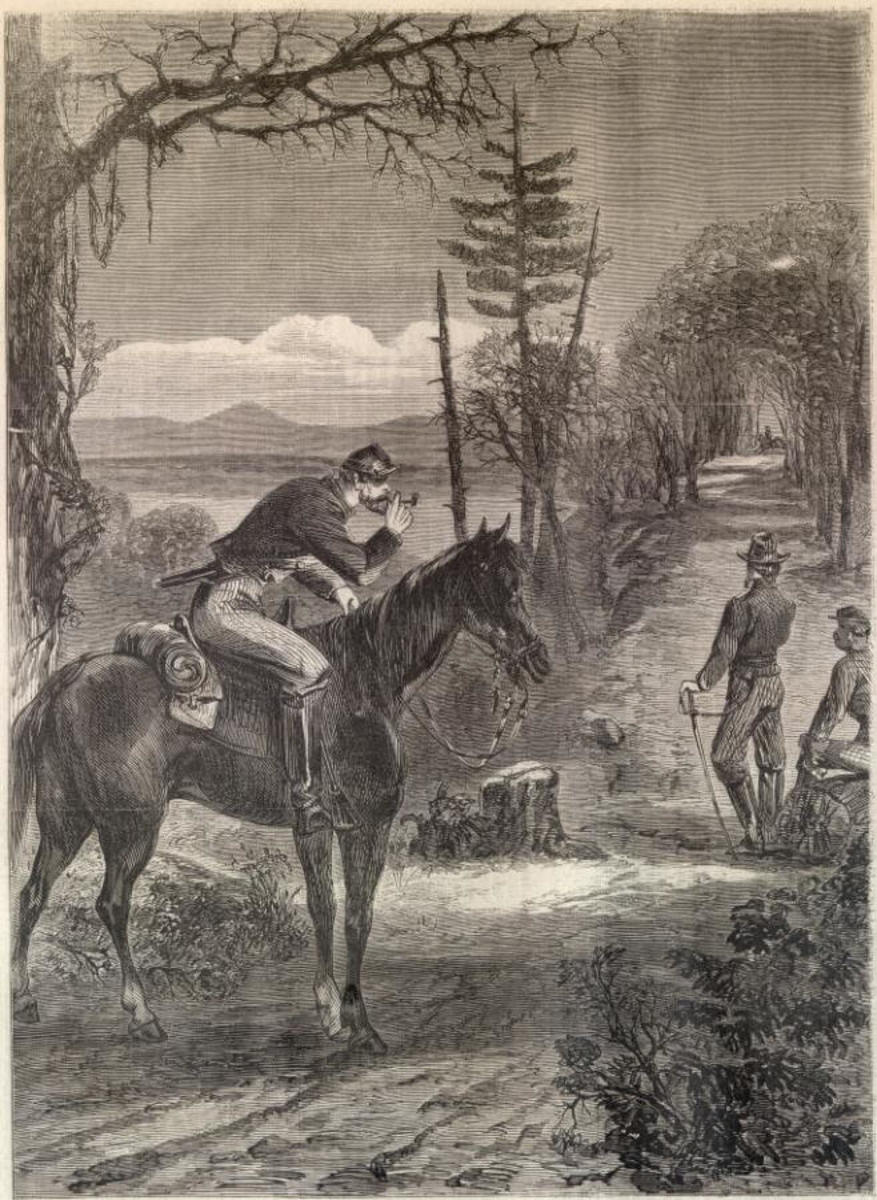 Sketch - a mounted courier prepares to ride