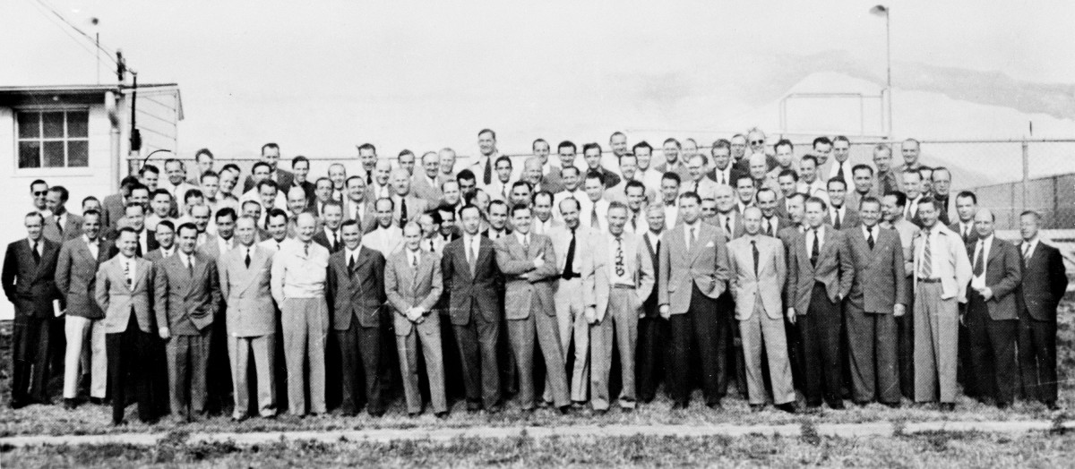 Group of 104 German rocket scientists in 1946, including Wernher von Braun,[1] Ludwig Roth and Arthur Rudolph, at Fort Bliss, Texas. The group had been subdivided into two sections: a smaller one at White Sands Proving Grounds for test launches and t