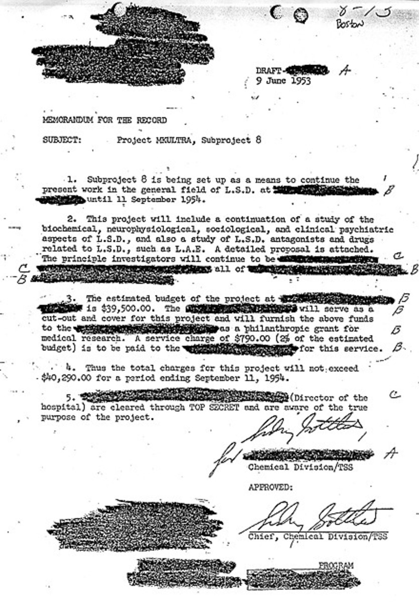 Dr. Sidney Gottlieb's approval of an MKULTRA sub-project on LSD.