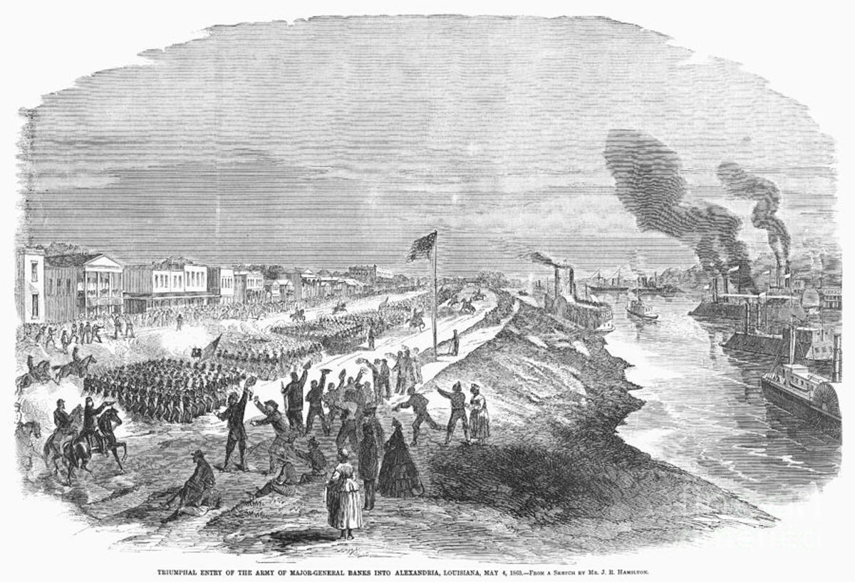 Sketch - troops march beside a river and a fleet of ironclads