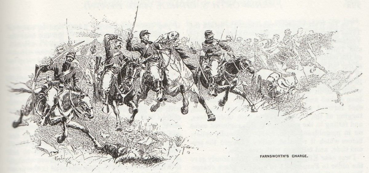 Sketch - cavalrymen launch a charge. Notice the cavalryman on the far right as he attempts to fire his carbine with one arm