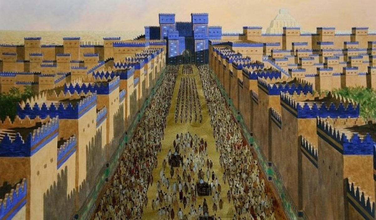 The Ishtar Gate, decorated with blue stone, was the eigth gate to the inner city of Babylon.  It was constructed in about 575 BC by order of King Nebuchadnezzar II. It was speckled with images of lions.