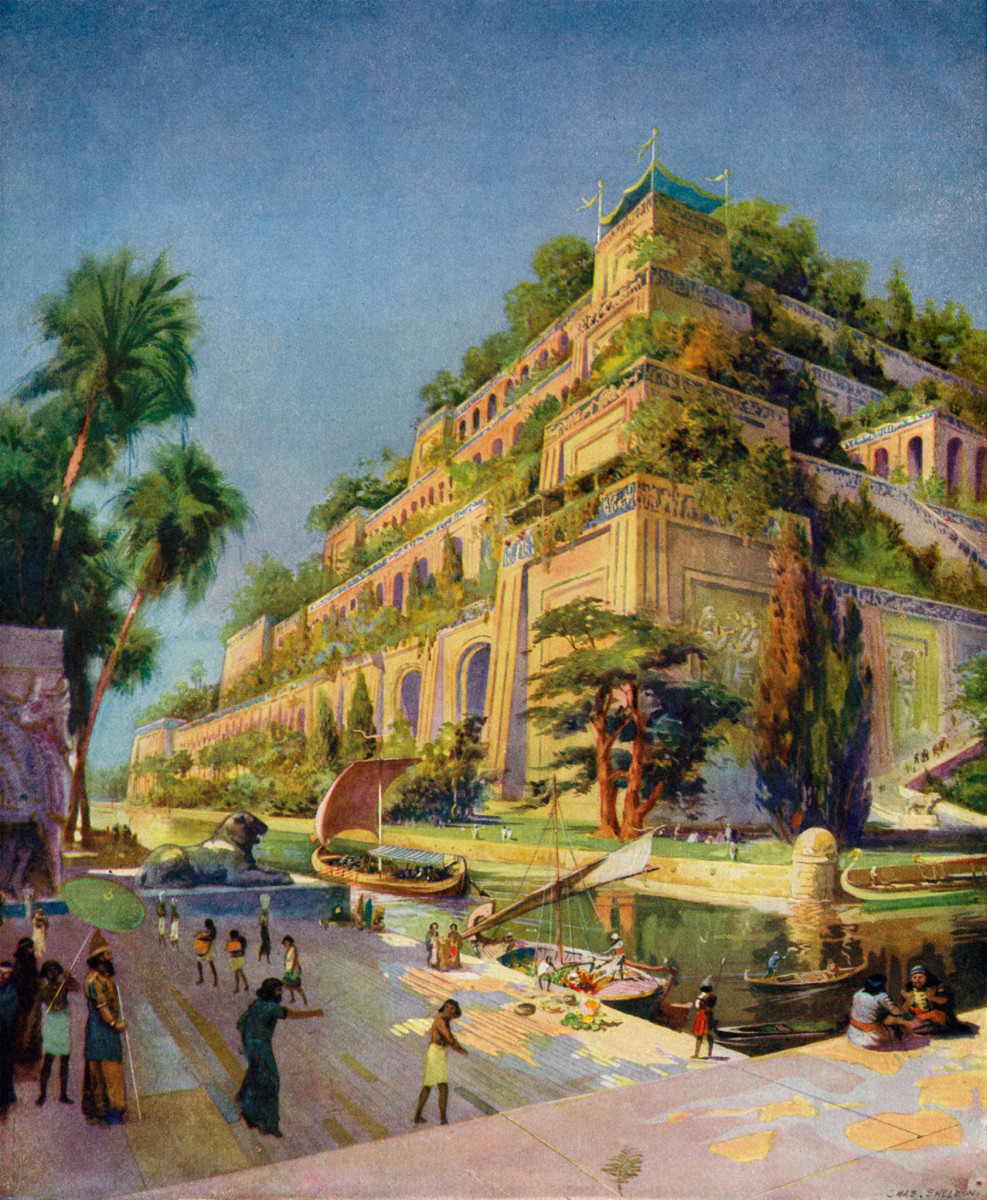 King Nebuchadnezzar built fabulous hanging, or terraced, gardens for his wife Amytis to remind her of the green hill country of her home in Media. No one today really knows what the gardens looked like, and some even question their existence.