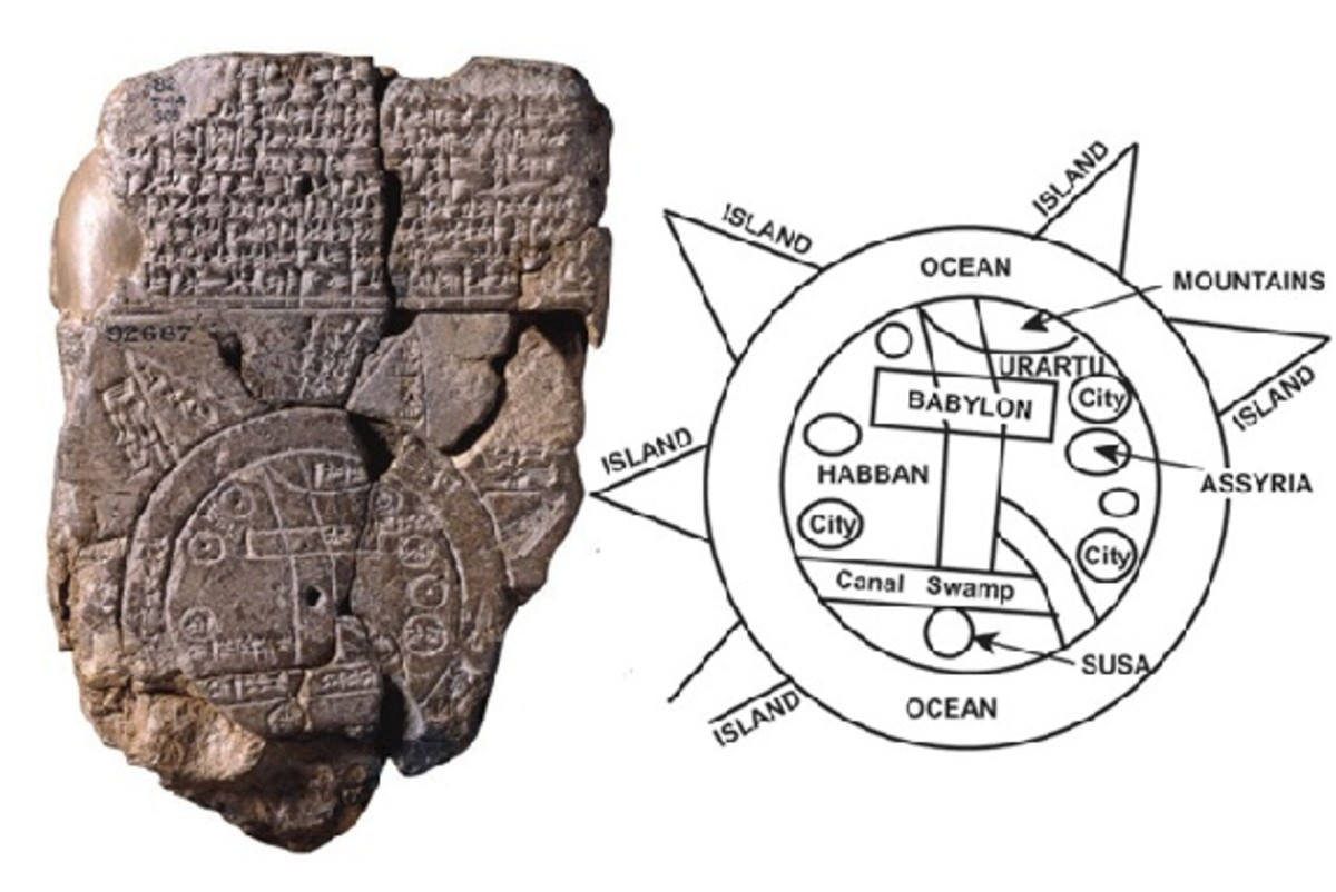 A stone map showing the known land masses surrounded by a ring of ocean. This map was made by Babylonian scholars more than 3000 years ago. They labelled it with wedge-shaped cuneiform writing.