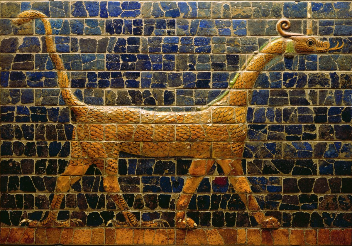 The dragon symbolized Marduk, supreme god of the Babylonians. They worshipped many gods, incluing the sun god Shamash, and Ishtar, the goddess of War and love.