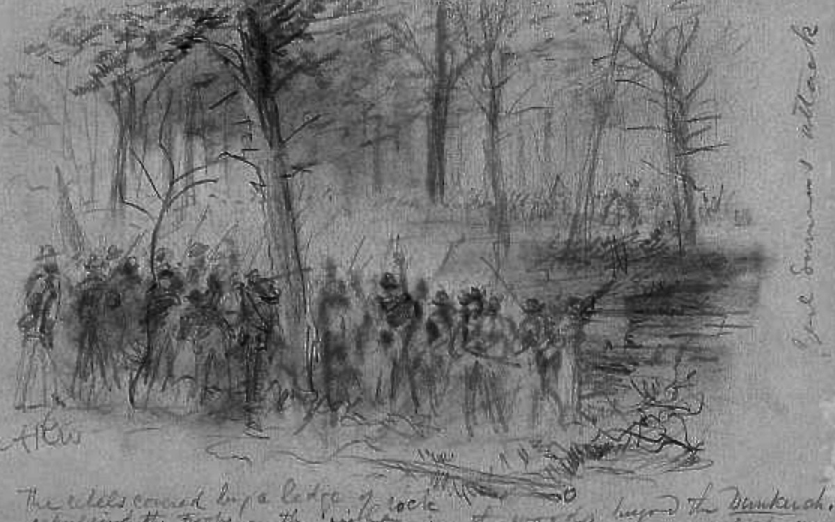 Sketch - troops engage in a firefight in a woodlot at the Antietam battlefield in MD
