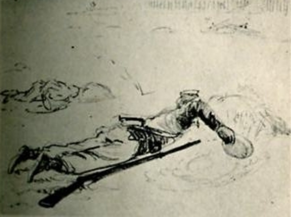 Sketch - a soldier uses his tin plate to dig-in while under enemy fire