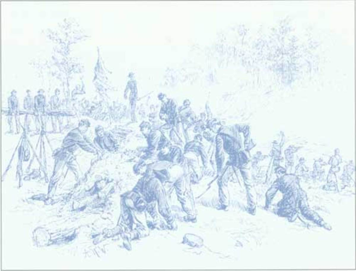 Sketch - troops use bayonets, cups, plates, and bare hands to improvise earthworks at Old Cold Harbor, VA