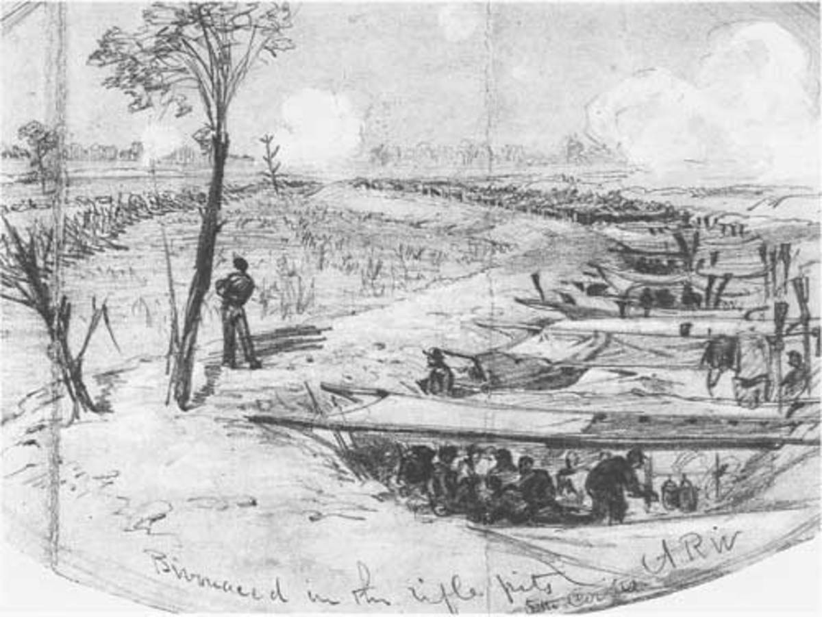 Sketch - blankets and shelter halves are stretched across rifle pits to shade troops from the sun