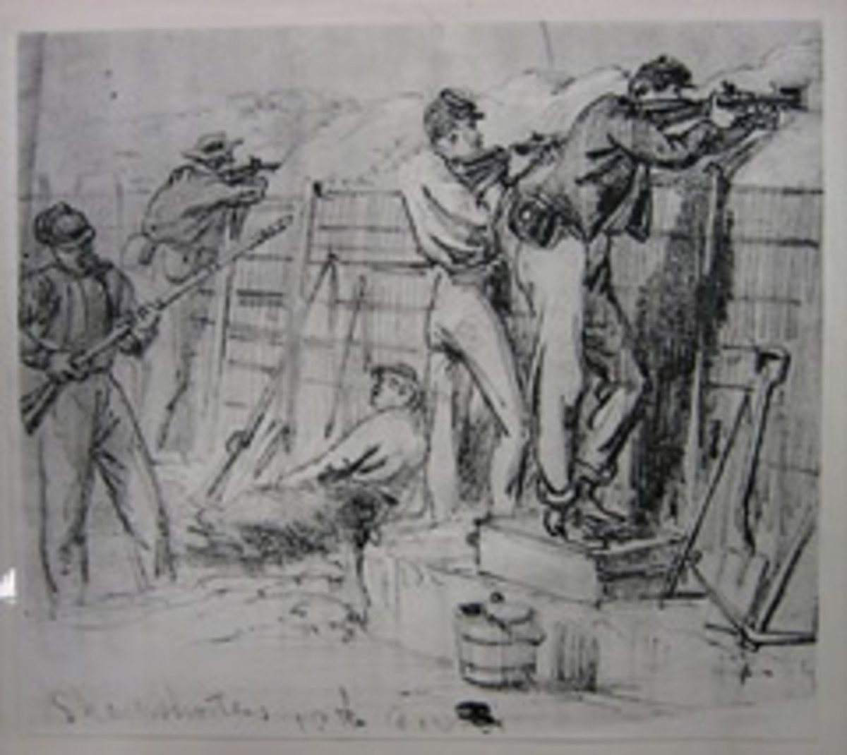 Sketch - snipers use firing steps to aim over the trench walls. Note the retaining wall on the side of the trench