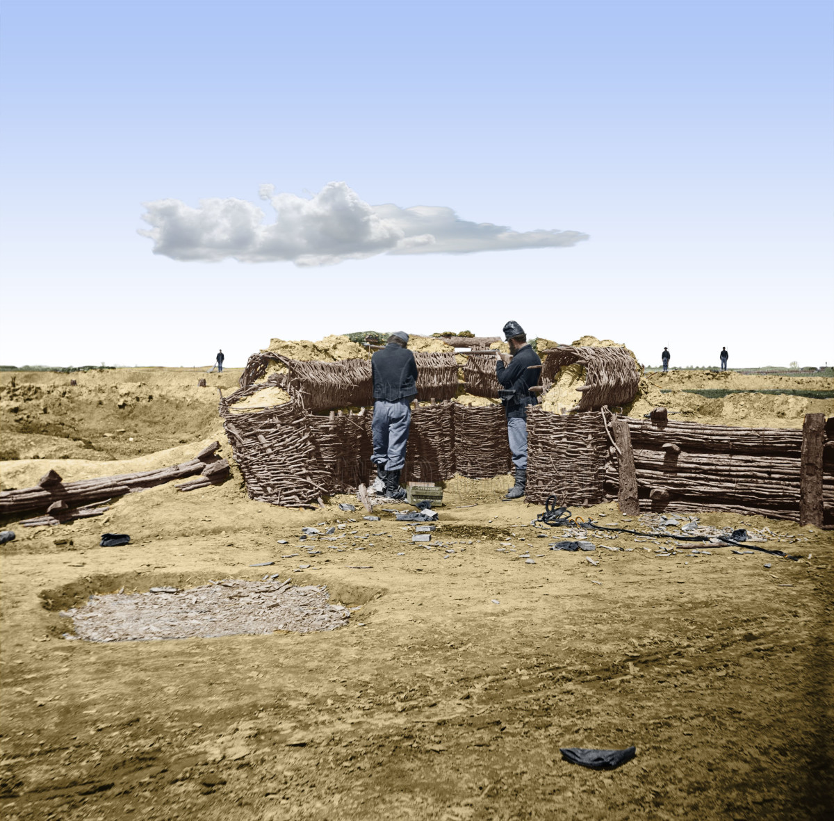 Colorized and posed photograph of Union sentries behind stacked gabions