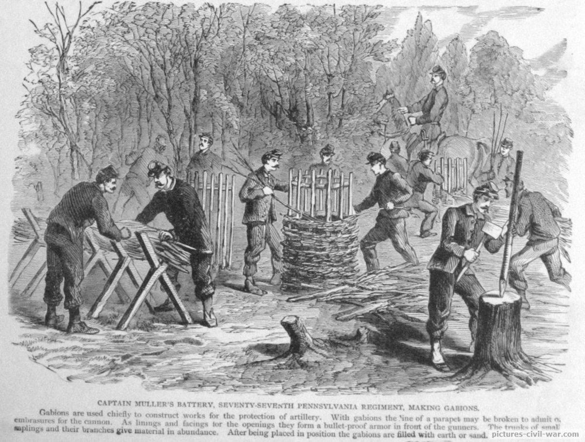 Sketch - Pennsylvania Volunteers construct gabions