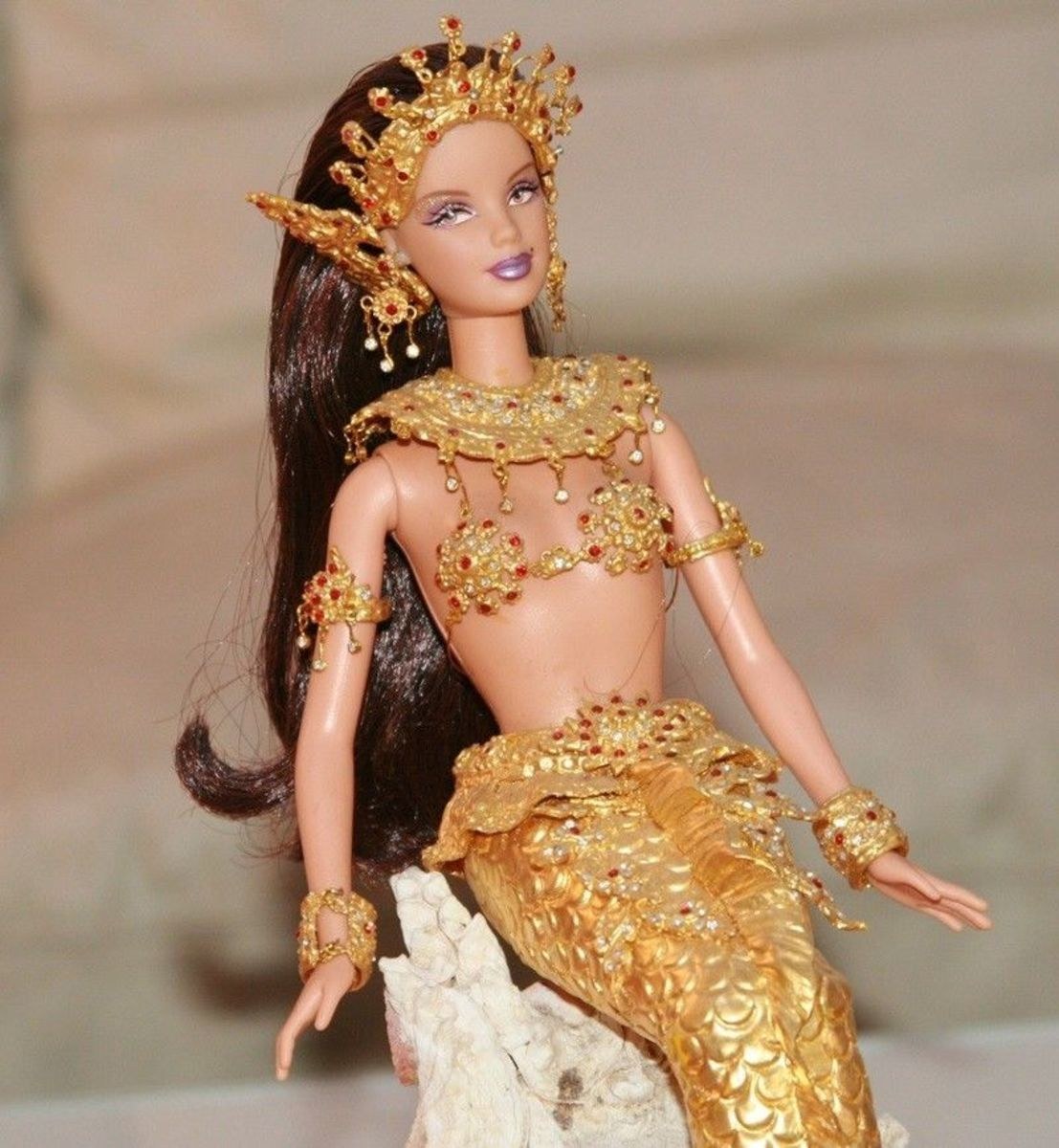 Mouse over image to zoom Have one to sell? Sell it yourself Details about  APHRODAI-Thailand State of the Art Legend Gold leaf Barbie Model Gown - Mermaid