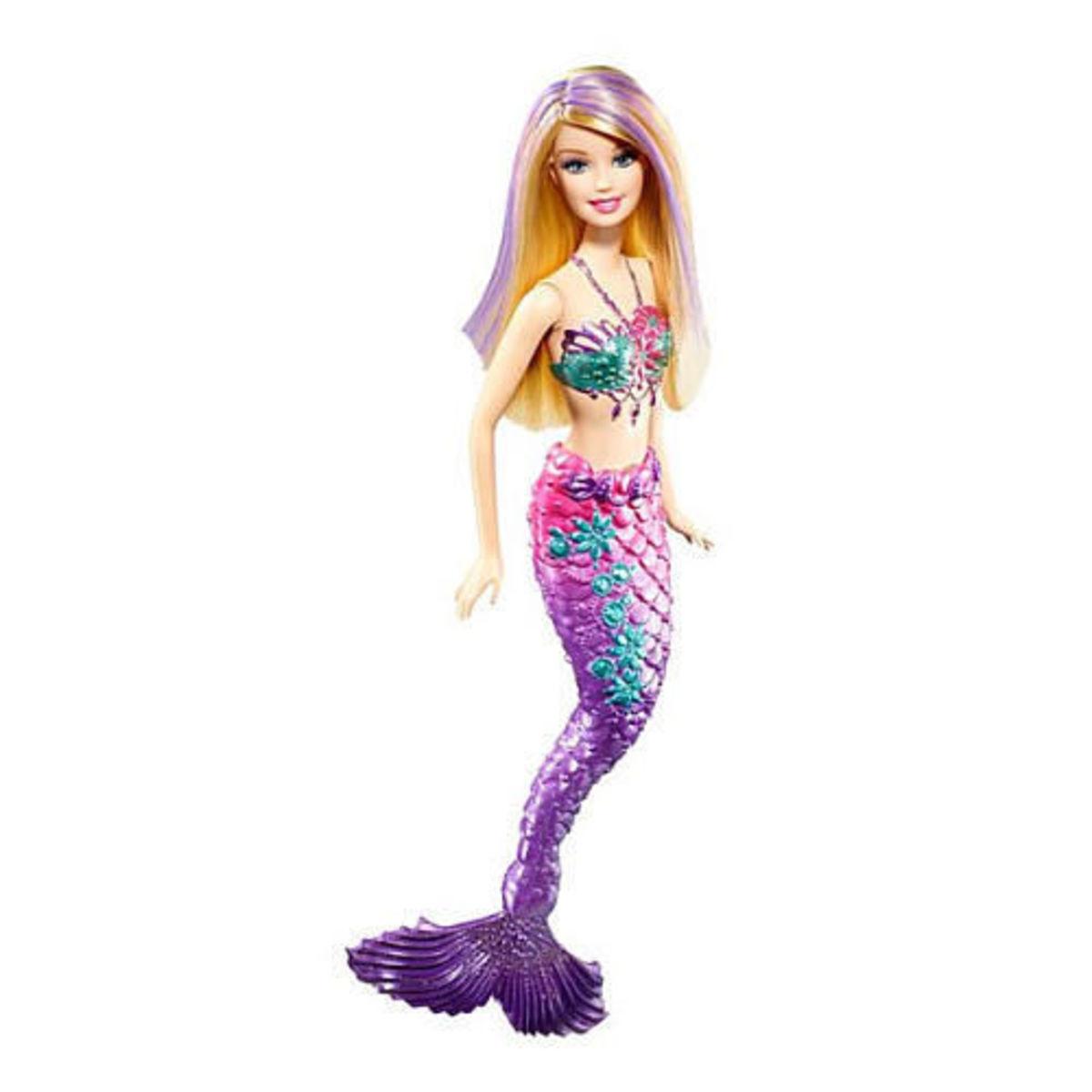 Purple Mermaid Barbie in purple and pink fins and long blond hair