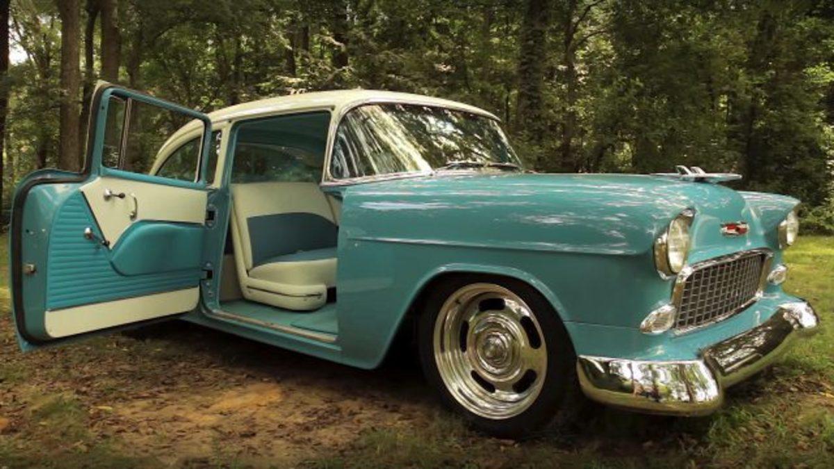 """1955 Chevrolet with """"suicide doors"""""""