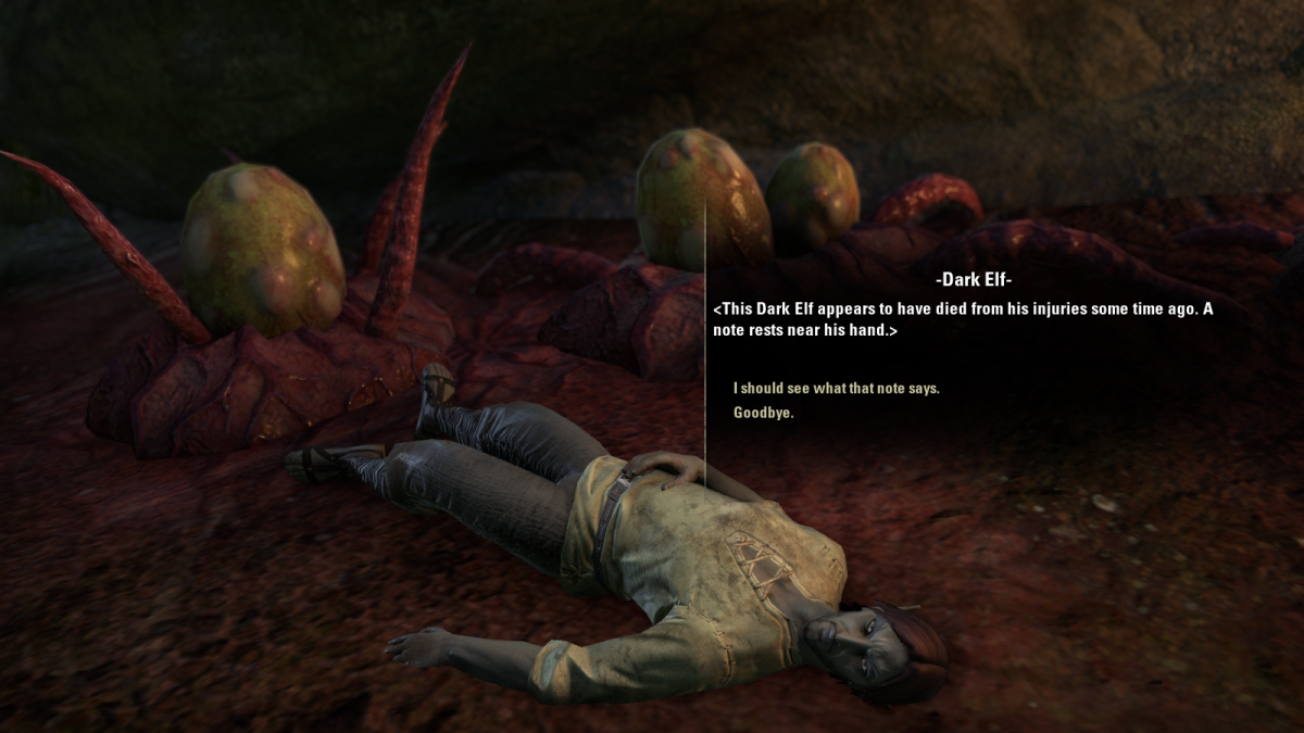 The body of a Dark Elf, found in Lady Llarel's Shelter in the You Have to Break a Few quest of The Elder Scrolls Online.