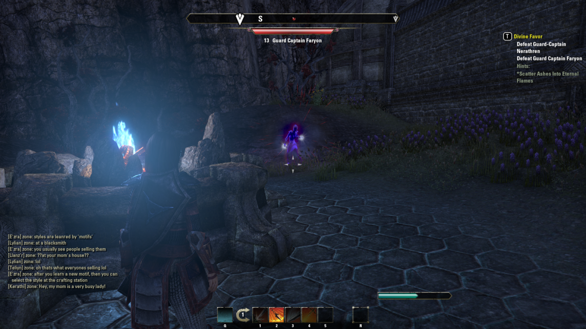 Battling a supernatural creature during the Divine Favor quest in The Elder Scrolls Online.