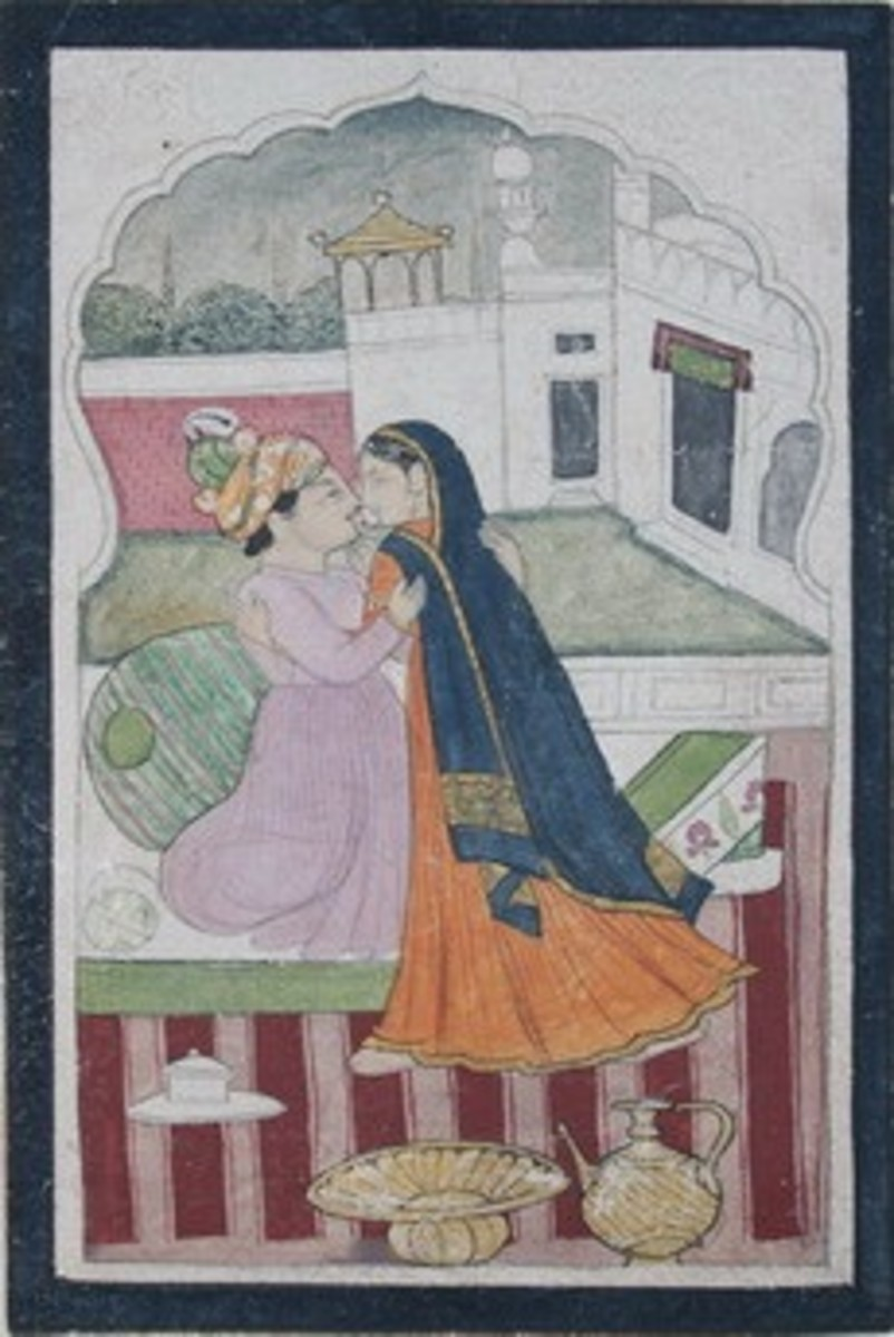 Lord embraces a lady. 1830 AD