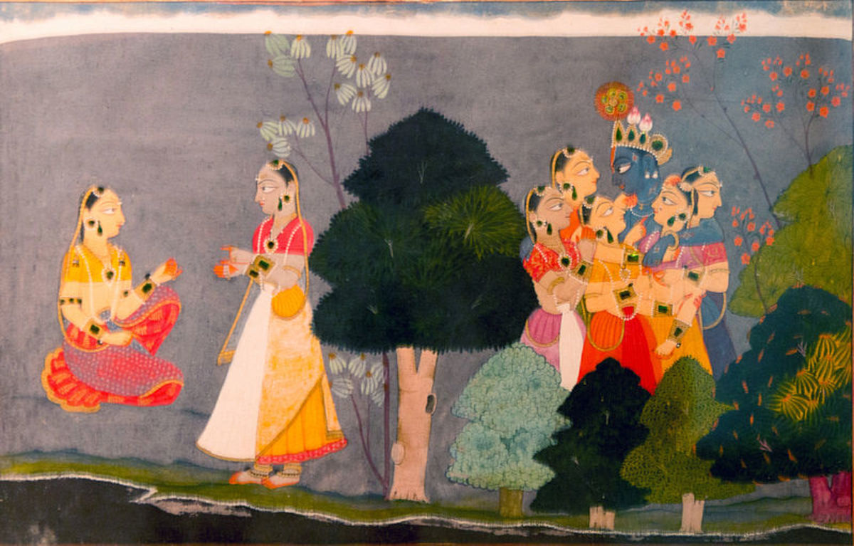 Confidante with Rhada, narrating to Khrisna dalliance with Gopies.based on Jaydeva's Gita Govinda.  1730 A.D.