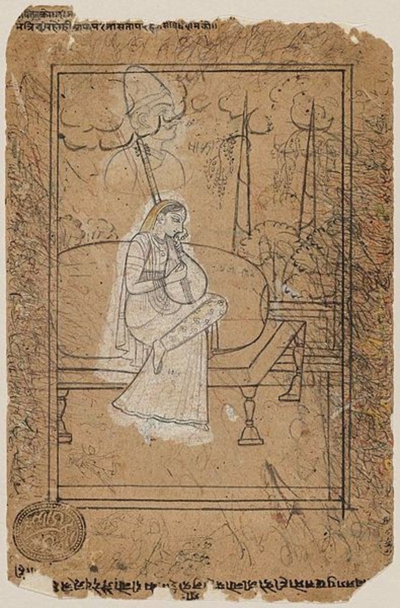A morose woman seated on a chauki on a garden terrace plays the sitar