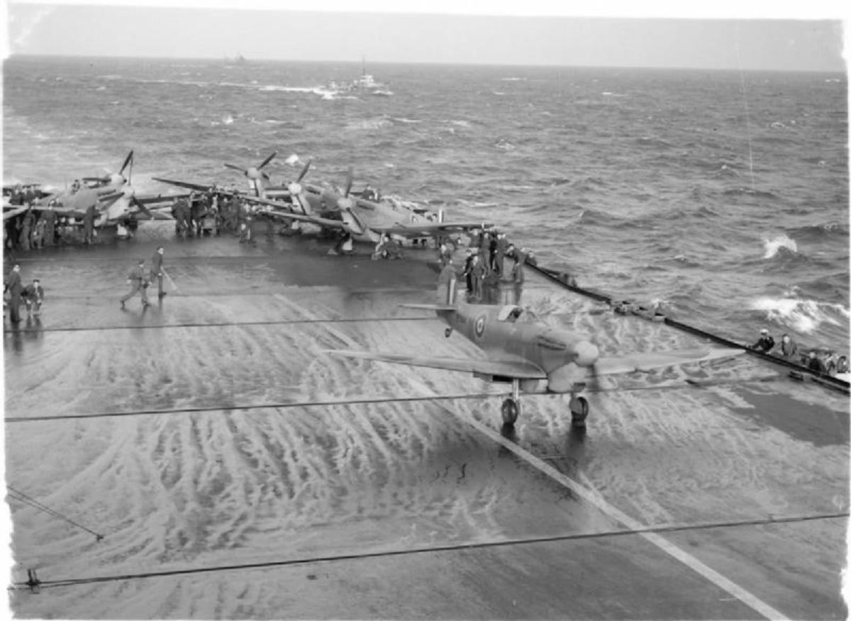 Hurricanes flown off from HMS Argus for Malta