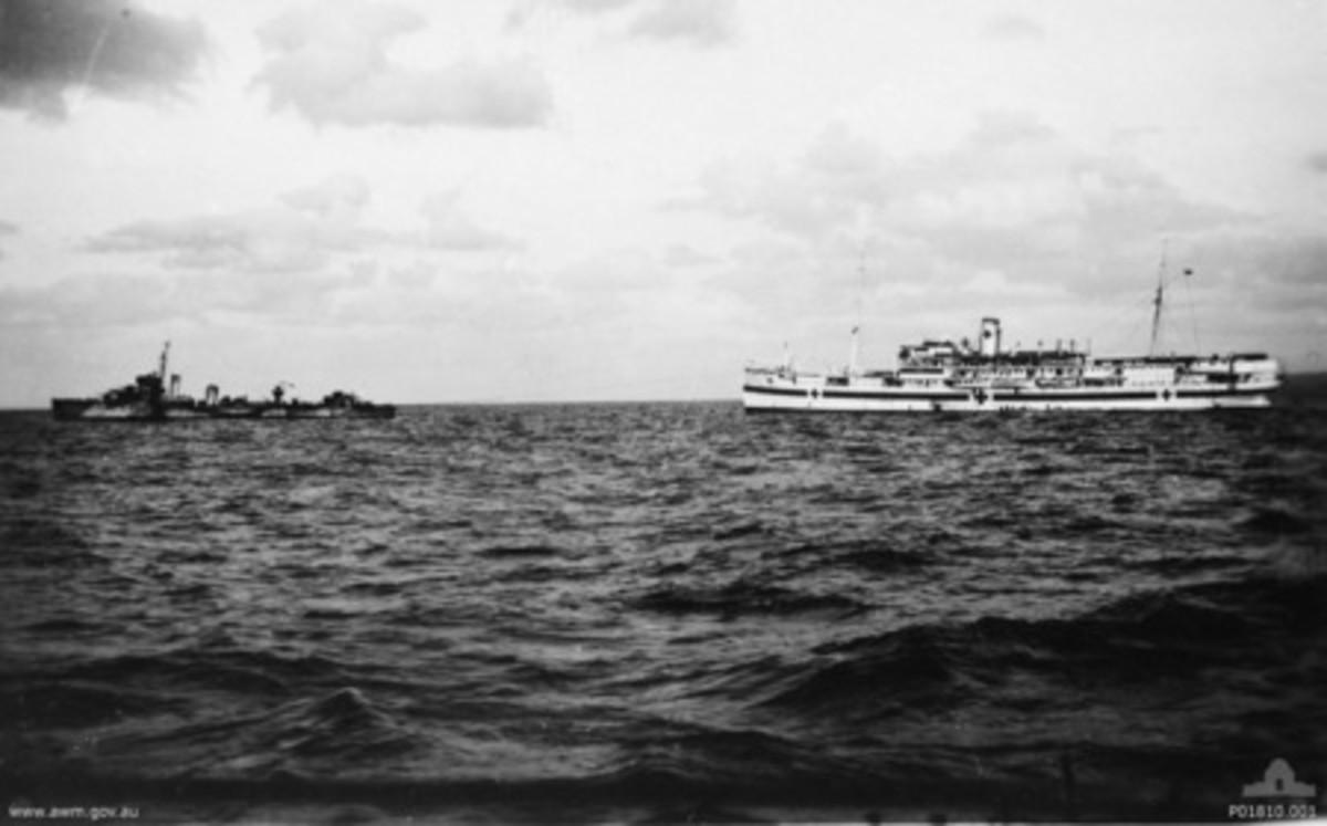 HMHS Vita being towed by HMAS Waterhen