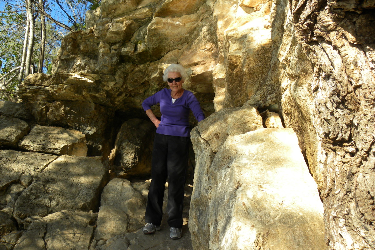 My 73 year old mother rock climbing at Barton Creek Twin Creek Tails, Austin TX