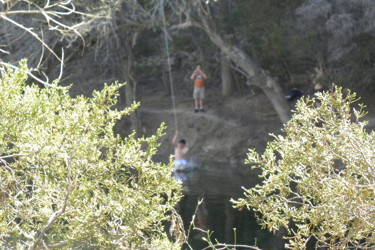 Swimming hole and cliff jumping Barton Creek Twin Falls Greenbelt Trail Austin TX
