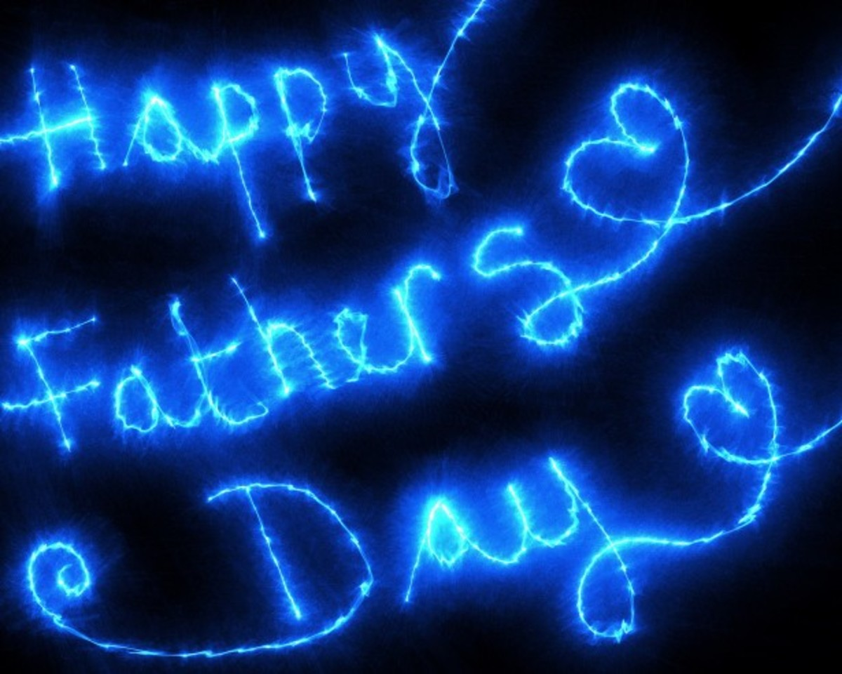 Happy Father's Day in Neon Lights Fireworks
