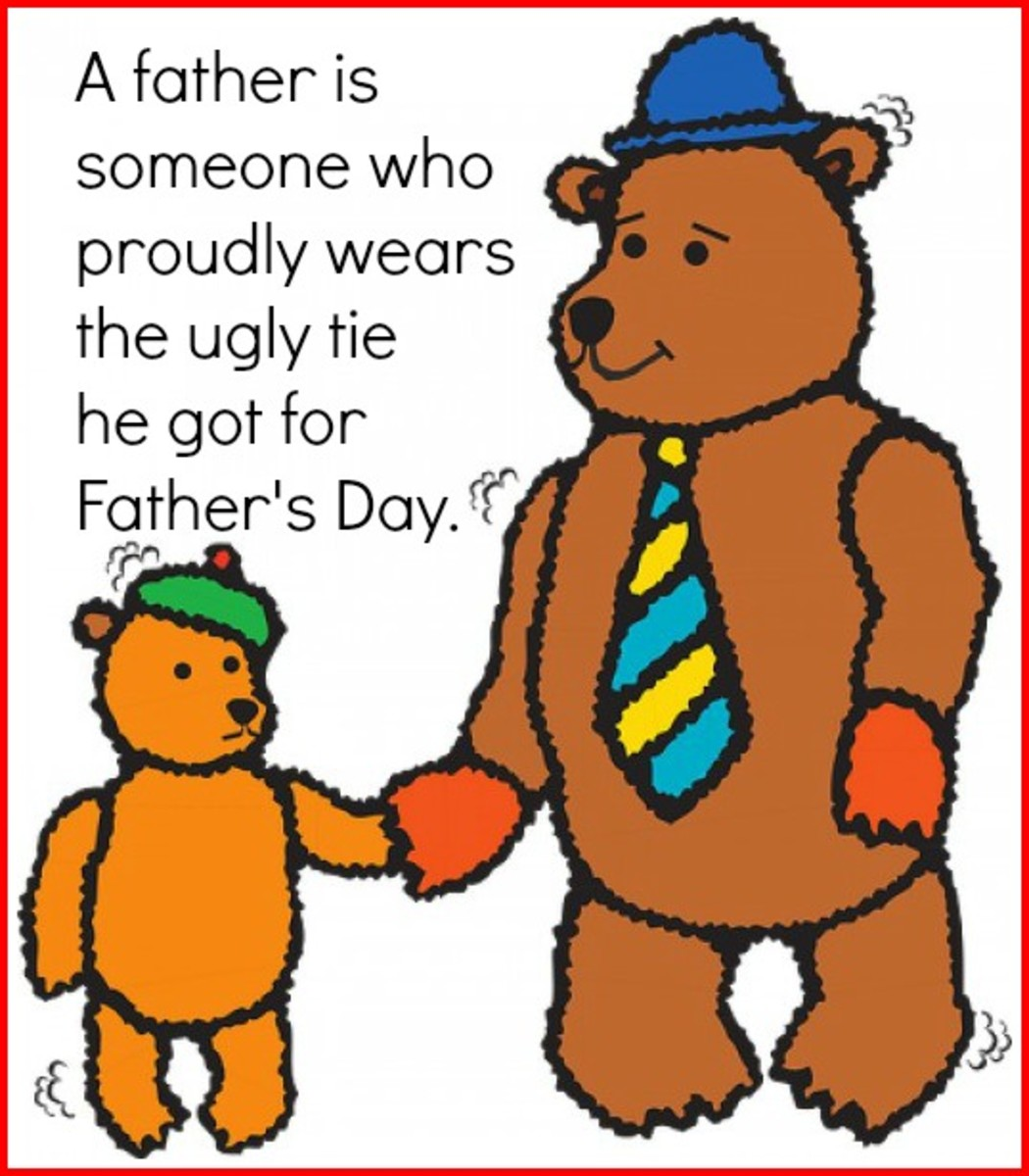 Teddy Bear Son and Father with Father's Day Tie