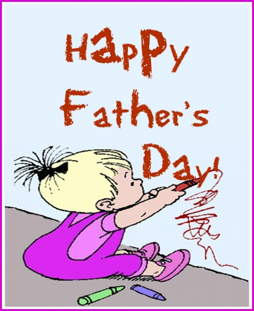 Happy Father's Day Written with Crayons by Child