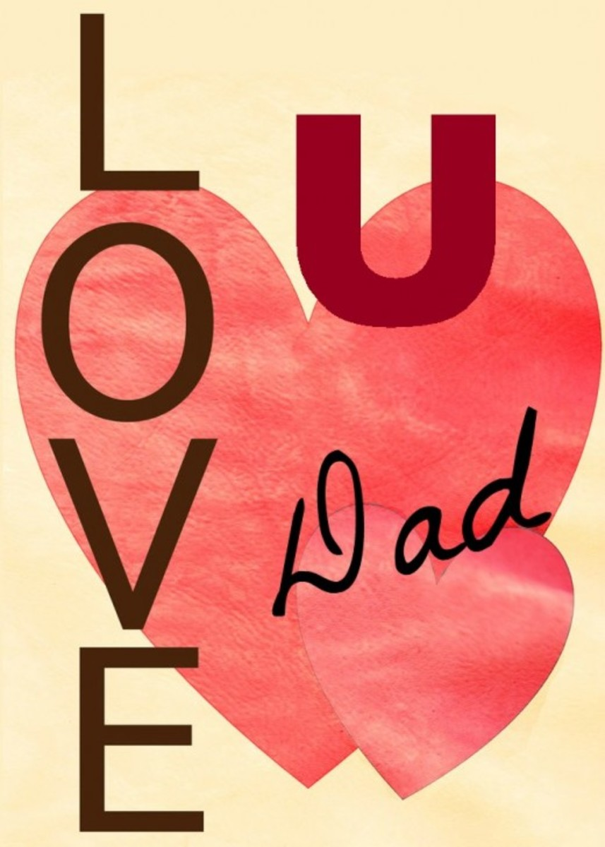 'Love U Dad' with Hearts