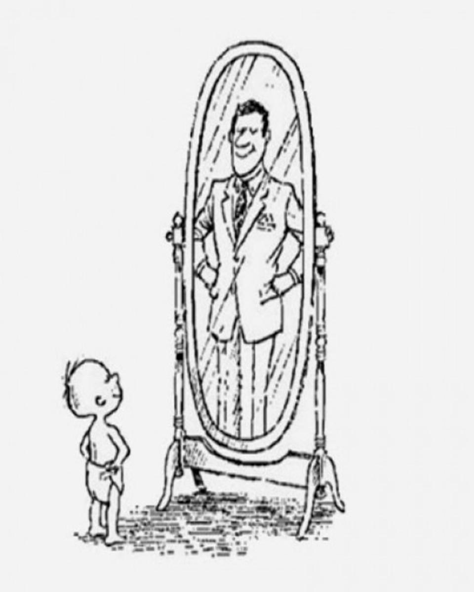 Boy Seeing Dad's Reflection in Mirror
